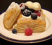 Lemon curd and mascarpone pastries with berries