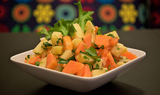 Papaya and apple salsa