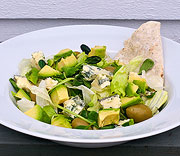 Blue cheese salad with avocado and green olives