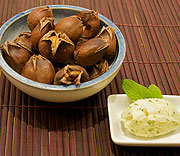 Roasted chestnuts with lemon and sage butter