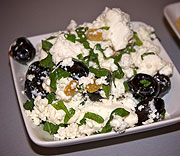 Feta and olive salad with mint and raisins