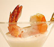 Lime glaced prawn with thai coconut foam