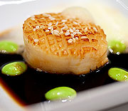 Scallop with toasted sesame seeds, edamame, light soy and ponzu foam