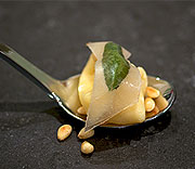 Tortellini with chevre, lardobaked sage and pine nuts